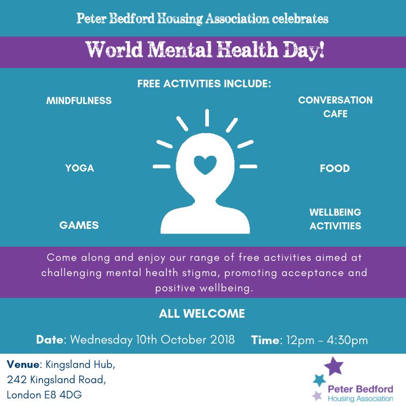 World Mental Health Day Event 2018 Peter Bedford Housing Association